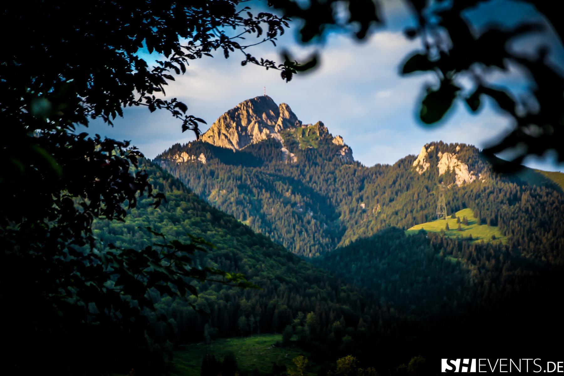 Aussicht Berg- und Bauernhaus